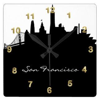 Black and White San Francisco Skyline Square Wallclocks