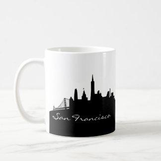Black and White San Francisco Skyline Classic White Coffee Mug
