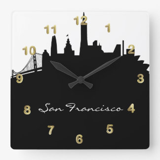 Black and White San Francisco Skyline Square Wall Clock