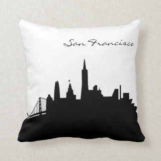 Black and White San Francisco Skyline Throw Pillow
