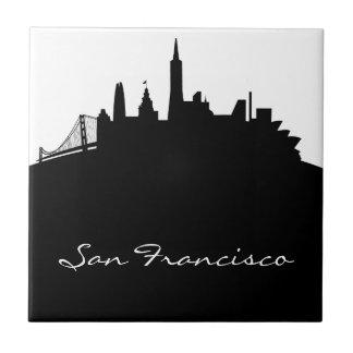 Black and White San Francisco Skyline Small Square Tile