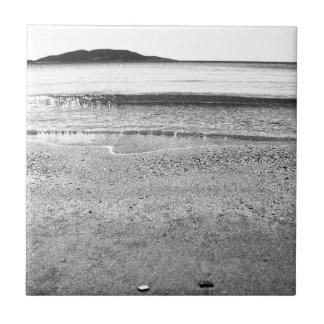 Black and White Sand Beach Ceramic Tile