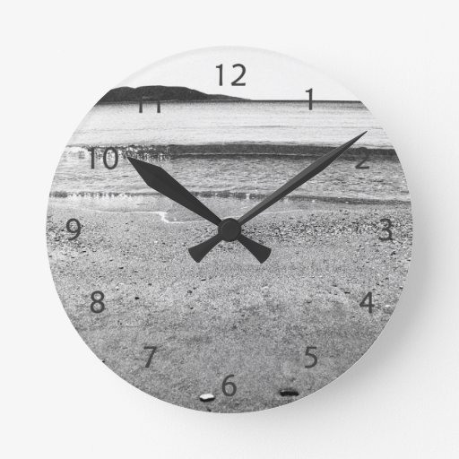 black and white sand beach round wall clocks zazzle