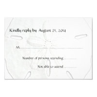 Black and White Sand Dollar Beach Wedding RSVP Card