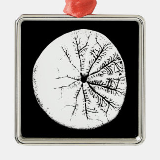 Black and white sand dollar metal ornament