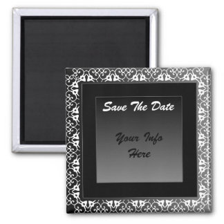 Black and White Save the Date 2 Inch Square Magnet