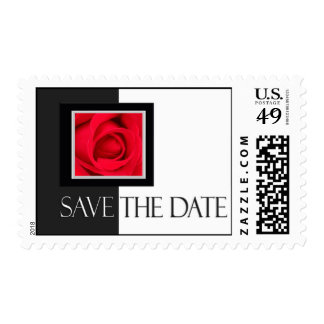 Black and white save the date postage stamp