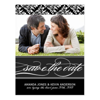 Black and White Save the Date Post Cards
