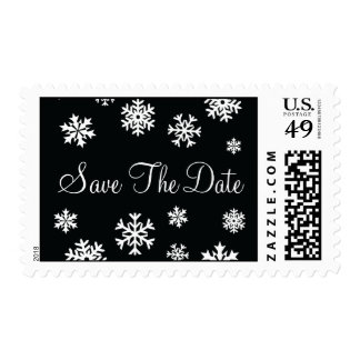 Black and White Save The Date Snowflakes Postage