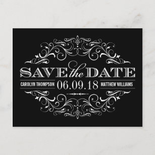 black and white save the date swirl and flourish announcement postcard