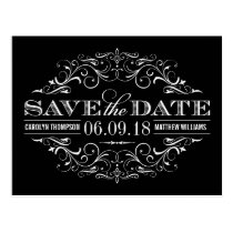 Black and White Save the Date | Swirl and Flourish Postcard