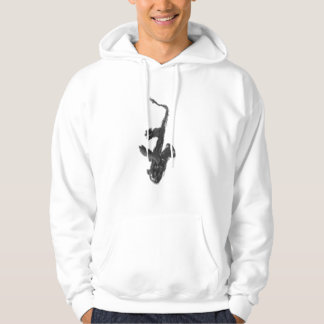 Black and white saxophone and two hands hoodie