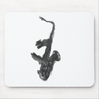 Black and white saxophone and two hands mouse pad
