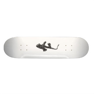 Black and white saxophone and two hands skateboard deck