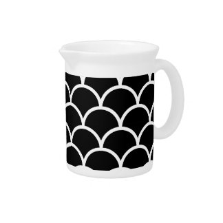 Black and White Scallop Beverage Pitcher