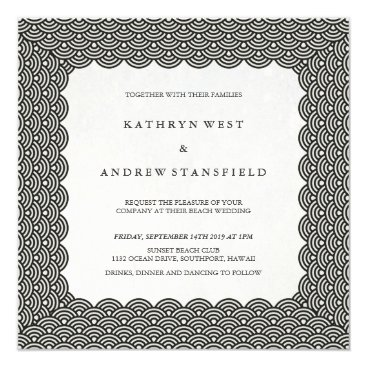 Beach Themed Black and White Scalloped Seigaiha Waves Wedding Card
