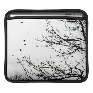 Black and White Scenic Birds on Trees iPad Sleeve