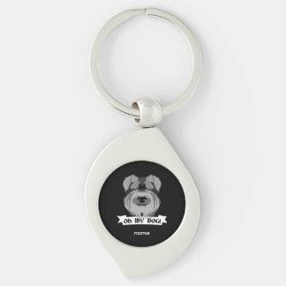 Black and White Schnauzer Oh My Dog Keychain