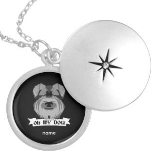 Black and White Schnauzer Oh My Dog Silver Plated Necklace