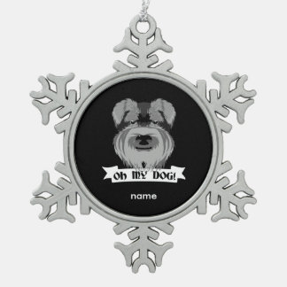 Black and White Schnauzer Oh My Dog Snowflake Pewter Christmas Ornament