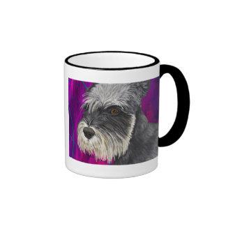 Black and White Schnauzer with Purple Background Mugs