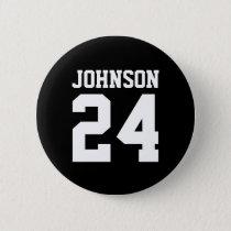 Black and White School Spirit Personalized Team Pinback Button