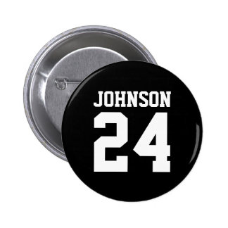 Black and White School Spirit Personalized Team Pinback Button