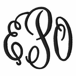 Black and White Script Embroidered Monogram