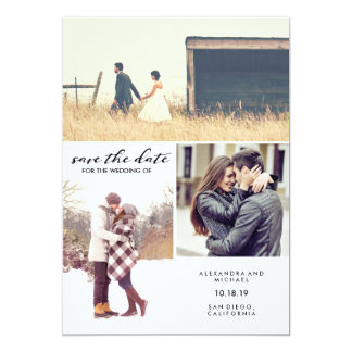 Black and White Script Modern Photo Save the Date Card