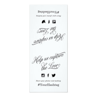 Black and White Script Wedding Hashtag Sign Card