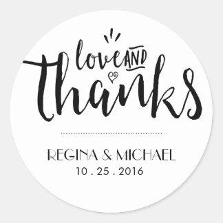 Black and White Script Wedding Thank You Sticker