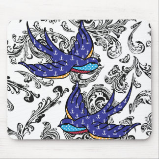 black and white scroll swallows mouse pad