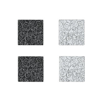 Black and White Scrolling Curves Magnet Set