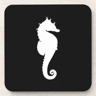 Black and White Seahorse Beverage Coaster