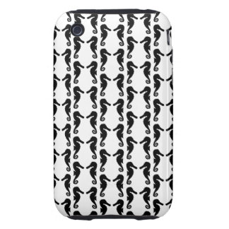 Black and White Seahorse Pattern. Tough iPhone 3 Cover