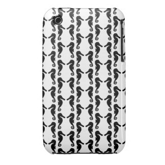 Black and White Seahorse Pattern. iPhone 3 Case