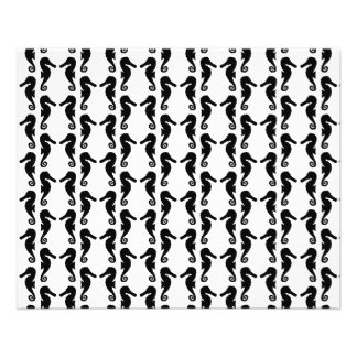 Black and White Seahorse Pattern. Flyer
