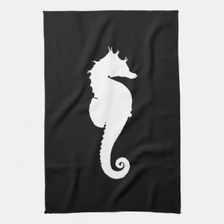 Black and White Seahorse Towel