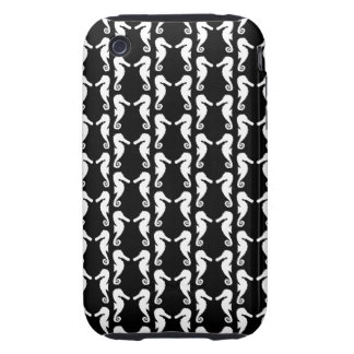 Black and White Seahorses Pattern. iPhone 3 Tough Covers
