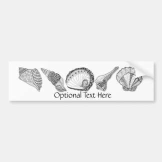 Black and White Seashell Art Bumper Sticker