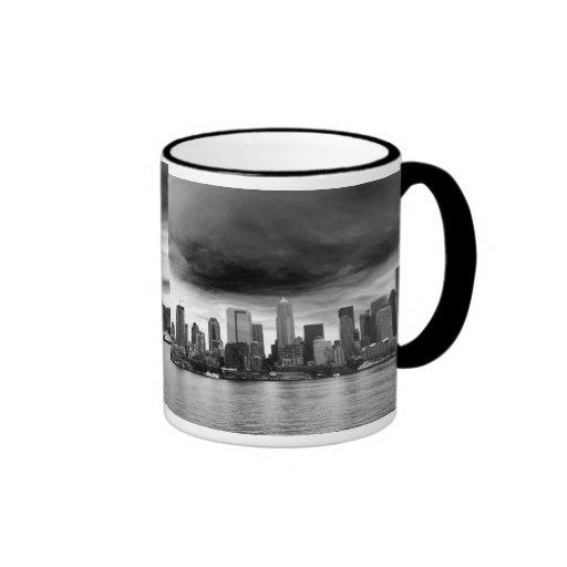 Black and white seattle coffee mugs