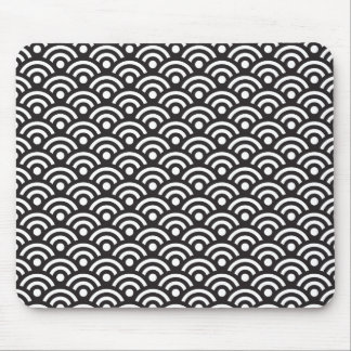 Black and White Seigaiha Pattern Mousepad
