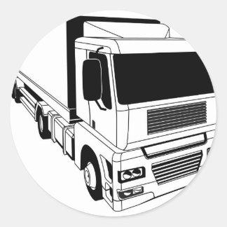 Black and white semi truck classic round sticker