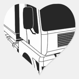 Black and white semi truck heart sticker