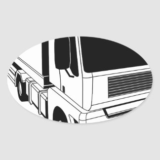 Black and white semi truck oval sticker