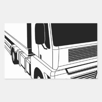 Black and white semi truck rectangular sticker