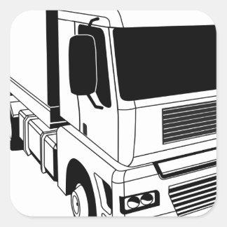 Black and white semi truck square sticker