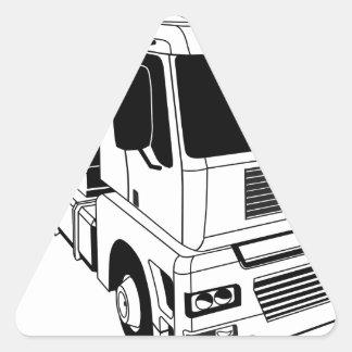 Black and white semi truck triangle sticker