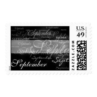 Black And White September Wedding Postage Stamp