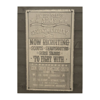 Black and White Seventh Cavalry Recruting Sign